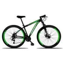Bicicleta Aro 29 Quadro 15 Freio a Disco Mecânico 21 Marchas Alumínio Preto Verde - Dropp -