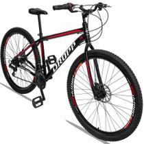 Bicicleta Aro 29 Quadro 17 Aço 21 Marchas Freio a Disco Mecânico Preto Red Branco - Dropp -