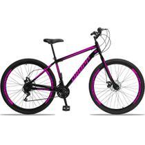 Bicicleta Aro 29 Quadro 17 Aço 21 Marchas Freio a Disco Mecânico Preto/Rosa - Dropp -