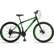Bicicleta Aro 29 Quadro 17 Aço 21 Marchas Freio a Disco Mecânico Preto/Verde - Dropp -
