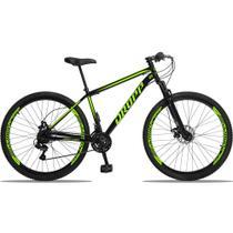Bicicleta Aro 29 Quadro 17 Aço 21 Marchas Suspensão Freio a Disco Mecânico Preto/Amarelo - Dropp -