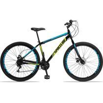 Bicicleta Aro 29 Quadro 17 Aço Garfo Rígido 21 Marchas Freio Mecânico Moon Preto/Azul - Spaceline -