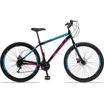 Bicicleta Aro 29 Quadro 17 Aço Garfo Rígido 21 Marchas Freio Mecânico Moon Preto/Rosa - Spaceline -