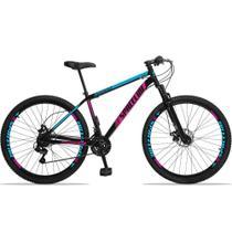 Bicicleta Aro 29 Quadro 17 Aço Suspensão 21 Marchas Freio Disco Mecânico Moon Preto/Rosa - Spaceline -