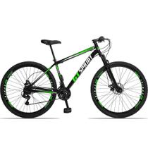 Bicicleta Aro 29 Quadro 17 Aço Suspensão 21 Marchas Freio Disco Mecânico MX1 Preto/Verde - GT Sprint -