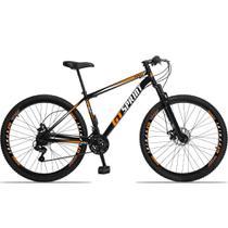 Bicicleta Aro 29 Quadro 17 Aço Suspensão 21 Marchas Freio Mecânico MX1 Preto/Laranja - GT Sprint -