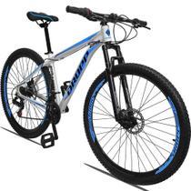 Bicicleta Aro 29 Quadro 17 Alumínio 21 Marchas Freio a Disco Mecânico Branco Azul - Dropp -