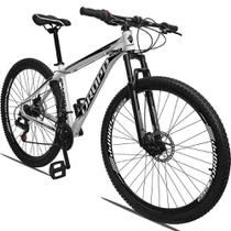 Bicicleta Aro 29 Quadro 17 Alumínio 21 Marchas Freio a Disco Mecânico Branco Preto - Dropp -
