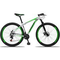 Bicicleta Aro 29 Quadro 17 Alumínio 21 Marchas Freio a Disco Mecânico Branco/Verde - Dropp -