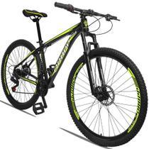 Bicicleta Aro 29 Quadro 17 Alumínio 21 Marchas Freio a Disco Mecânico Preto Amarelo - Dropp -