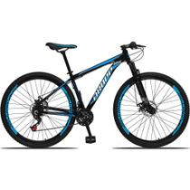 Bicicleta Aro 29 Quadro 17 Alumínio 21 Marchas Freio a Disco Mecânico Preto/Azul - Dropp -