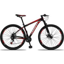 Bicicleta Aro 29 Quadro 17 Alumínio 21 Marchas Freio a Disco Mecânico Preto/Vermelho - Dropp -