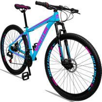 Bicicleta Aro 29 Quadro 17 Alumínio 21 Marchas Freio a Disco Orion Azul Rosa - Spaceline -
