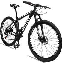 Bicicleta Aro 29 Quadro 17 Alumínio 21 Marchas Freio a Disco Orion Preto Branco - Spaceline -