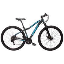 Bicicleta Aro 29 Quadro 17 Alumínio 21 Marchas Freio Disco Mecânico Flower Preto/Azul - Dropp -