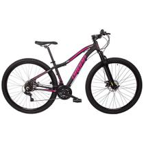 Bicicleta Aro 29 Quadro 17 Alumínio 21 Marchas Freio Disco Mecânico Flower Preto/Rosa - Dropp -