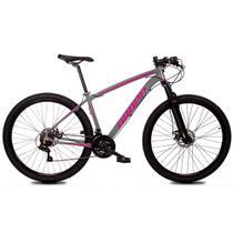Bicicleta Aro 29 Quadro 17 Alumínio 21 Marchas Freio Disco Mecânico Z1-X Cinza/Rosa - Dropp -