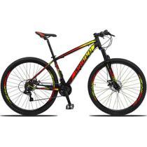 Bicicleta Aro 29 Quadro 17 Alumínio 21v Suspensão Freio Disco Mecânico Z3 Preto/Red/Yellow - Dropp -