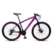 Bicicleta Aro 29 Quadro 17 Câmbio Tras. Shimano 21v Freio Mecânico Vega Preto/Rosa - Spaceline -