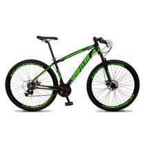 Bicicleta Aro 29 Quadro 17 Câmbio Tras. Shimano 21v Freio Mecânico Vega Preto/Verde - Spaceline -