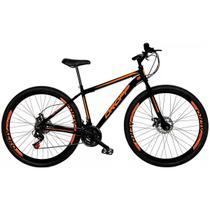 Bicicleta Aro 29 Quadro 17 Freio a Disco Mecânico 21 Marchas Aço Preto Laranja - Dropp -