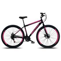 Bicicleta Aro 29 Quadro 17 Freio a Disco Mecânico 21 Marchas Aço Preto Rosa - Dropp -