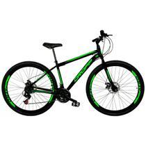 Bicicleta Aro 29 Quadro 17 Freio a Disco Mecânico 21 Marchas Aço Preto Verde - Dropp -