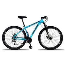 Bicicleta Aro 29 Quadro 17 Freio a Disco Mecânico 21 Marchas Alumínio Azul Preto - Dropp -