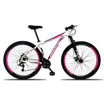 Bicicleta Aro 29 Quadro 17 Freio a Disco Mecânico 21 Marchas Alumínio Branco Rosa - Dropp -