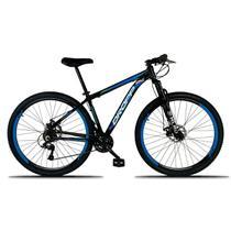Bicicleta Aro 29 Quadro 17 Freio a Disco Mecânico 21 Marchas Alumínio Preto Azul - Dropp -