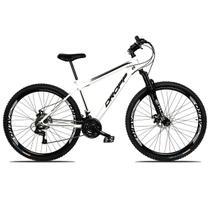 Bicicleta Aro 29 Quadro 17 Freio a Disco Mecânico 21 Marchas Suspensão Aço Branco Preto - Dropp -