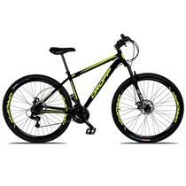 Bicicleta Aro 29 Quadro 17 Freio a Disco Mecânico 21 Marchas Suspensão Aço Preto Amarelo - Dropp -