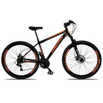 Bicicleta Aro 29 Quadro 17 Freio a Disco Mecânico 21 Marchas Suspensão Aço Preto Laranja - Dropp -
