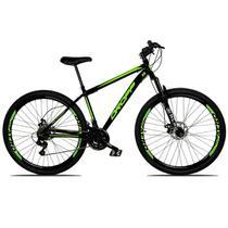 Bicicleta Aro 29 Quadro 17 Freio a Disco Mecânico 21 Marchas Suspensão Aço Preto Verde - Dropp -