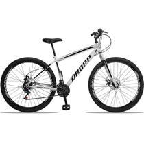 Bicicleta Aro 29 Quadro 19 Aço 21 Marchas Freio a Disco Mecânico Branco/Preto - Dropp -