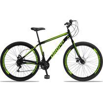 Bicicleta Aro 29 Quadro 19 Aço 21 Marchas Freio a Disco Mecânico Preto/Amarelo - Dropp -