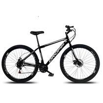 Bicicleta Aro 29 Quadro 19 Aço 21 Marchas Freio a Disco Mecânico Preto/Branco - Dropp -