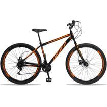 Bicicleta Aro 29 Quadro 19 Aço 21 Marchas Freio a Disco Mecânico Preto/Laranja - Dropp -