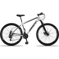 Bicicleta Aro 29 Quadro 19 Aço 21 Marchas Suspensão Freio a Disco Mecânico Branco/Preto - Dropp -