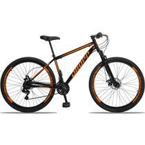 Bicicleta Aro 29 Quadro 19 Aço 21 Marchas Suspensão Freio a Disco Mecânico Preto/Laranja - Dropp -