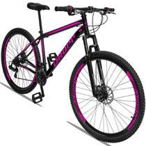 Bicicleta Aro 29 Quadro 19 Aço 21 Marchas Suspensão Freio a Disco Mecânico Preto Rosa - Dropp -