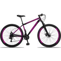Bicicleta Aro 29 Quadro 19 Aço 21 Marchas Suspensão Freio a Disco Mecânico Preto/Rosa - Dropp -