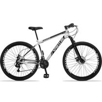Bicicleta Aro 29 Quadro 19 Aço Suspensão 21 Marchas Freio Disco Mecânico Moon Branco - Spaceline -