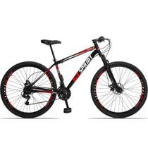 Bicicleta Aro 29 Quadro 19 Aço Suspensão 21 Marchas Freio Mecânico MX1 Preto/Vermelho - GT Sprint -