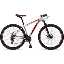Bicicleta Aro 29 Quadro 19 Alumínio 21 Marchas Freio a Disco Mecânico Branco/Vermelho - Dropp -