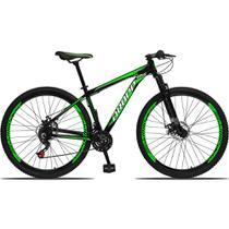 Bicicleta Aro 29 Quadro 19 Alumínio 21 Marchas Freio a Disco Mecânico Preto/Verde - Dropp -