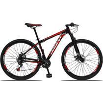 Bicicleta Aro 29 Quadro 19 Alumínio 21 Marchas Freio a Disco Mecânico Preto/Vermelho - Dropp -