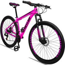 Bicicleta Aro 29 Quadro 19 Alumínio 21 Marchas Freio a Disco Orion Rosa Preto - Spaceline -