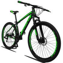 Bicicleta Aro 29 Quadro 19 Alumínio 21 Marchas Suspensão Freio Disco Mecânico Z3 Preto Verde - Dropp -