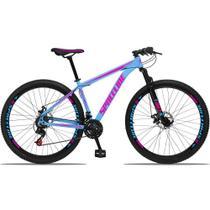 Bicicleta Aro 29 Quadro 19 Alumínio 21v com Suspensão e Freio Disco Orion Azul/Rosa - Spaceline -